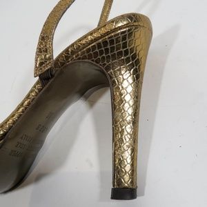 Franco Barbieri Shoes - Franco Barbieri Size 7 Gold Snakeskin Heels